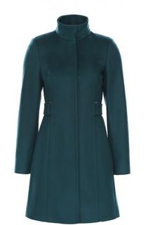 Приталенное пальто с воротником-стойкой BOSS