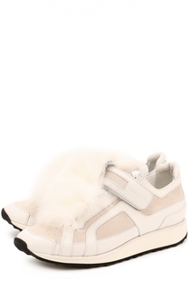 Кожаные кроссовки с меховой отделкой Pierre Hardy