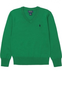 Шерстяной пуловер с логотипом бренда Polo Ralph Lauren