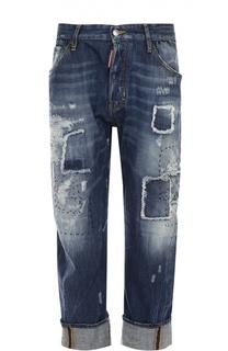 Укороченные джинсы с декоративными заплатками Dsquared2