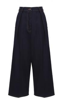 Укороченные широкие джинсы с завышенной талией и защипами Dries Van Noten