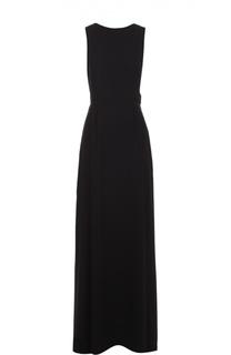 Приталенное платье в пол с открытой спиной BOSS