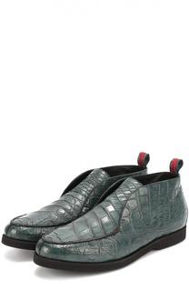 Ботинки из кожи крокодила без шнуровки Kiton