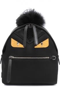 Рюкзак Bag Bugs Mini с отделкой из меха и комбинированной кожи Fendi