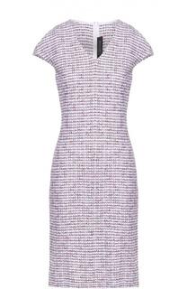 Буклированное приталенное платье с V-образным вырезом St. John