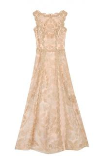 Приталенное кружевное платье-макси Tadashi Shoji
