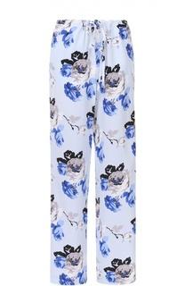 Шелковые брюки в пижамном стиле с цветочным принтом Theory