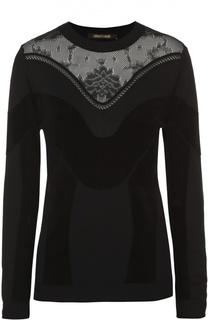 Пуловер прямого кроя с полупрозрачной вставкой Roberto Cavalli