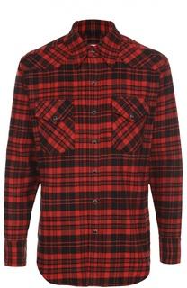 Хлопковая рубашка в клетку на кнопках Saint Laurent