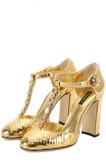 Туфли Vally из фактурной кожи с кристаллами Dolce & Gabbana