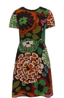 Шелковое приталенное мини-платье с контрастным принтом Burberry