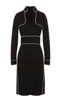 Мини-платье с V-образным вырезом и контрастной отделкой Burberry