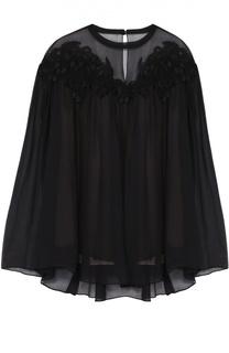 Шелковая блуза свободного кроя с кружевной отделкой Chloé