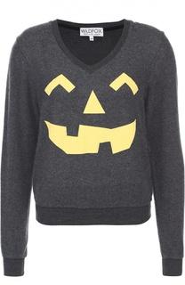 Пуловер с контрастным принтом и V-образным вырезом Wildfox