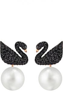 Серьги Iconic Swan с подвесками Swarovski