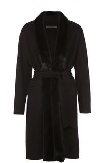 Кашемировое пальто с поясом и меховой отделкой Simonetta Ravizza