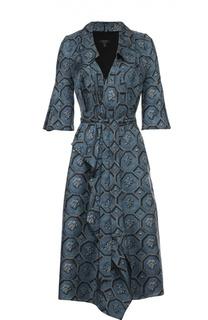 Шелковое платье с запахом с поясом и коротким рукавом Burberry