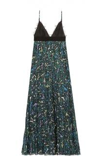 Платье на бретельках с завышенной талией и плиссированной юбкой Valentino