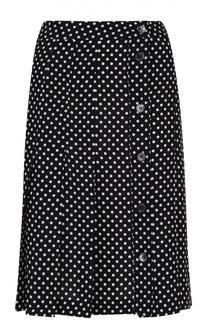 Шелковая юбка в складку с контрастным принтом Michael Kors