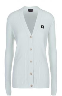 Кардиган фактурной вязки с логотипом бренда Rochas