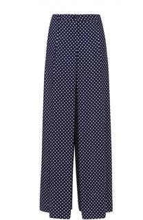 Шелковые широкие брюки в складку с контрастным принтом Michael Kors