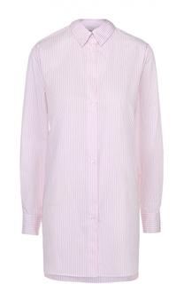 Платье-рубашка свободного кроя в полоску с декоративной отделкой Maison Margiela