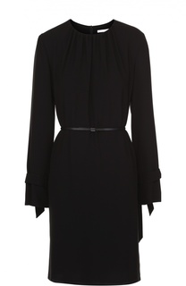 Приталенное мини-платье с защипами и поясом BOSS