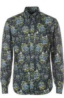 Хлопковая рубашка с цветочным принтом Burberry
