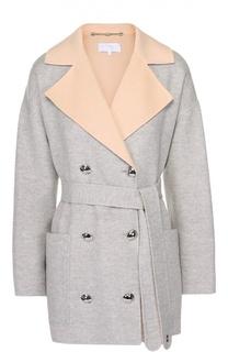 Двубортное пальто с поясом и контрастными лацканами Escada Sport