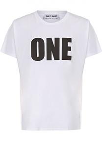 Хлопковая футболка с контрастной надписью One-T-Shirt