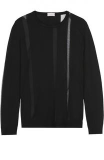 Пуловер прямого кроя с круглым вырезом и полупрозрачными вставками MRZ