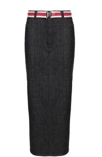 Джинсовая юбка-карандаш с высоким разрезом и контрастным поясом Victoria by Victoria Beckham