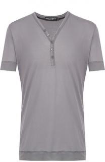 Хлопковая футболка хенли с V-образным вырезом Dolce & Gabbana