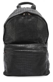 Кожаный рюкзак с тиснением под крокодила Officine Creative
