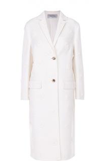 Пальто прямого кроя с фактурной цветочной отделкой Valentino
