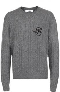 Шерстяной свитер фактурной вязки с контрастной вышивкой MSGM