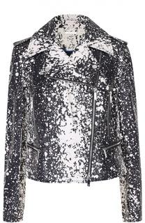 Укороченная кожаная куртка с косой молнией и контрастным принтом Diane Von Furstenberg