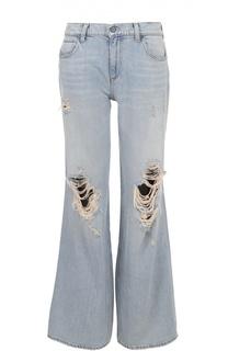 Расклешенные широкие джинсы с потертостями Denim X Alexander Wang