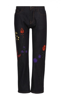 Укороченные джинсы прямого кроя с контрастной вышивкой Fendi