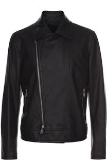 Кожаная куртка с косой молнией и отложным воротником Brioni