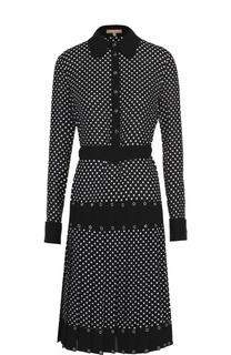 Шелковое платье-рубашка в горох с юбкой в складку Michael Kors
