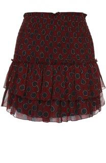 Шелковая мини-юбка с контрастным принтом и оборками Isabel Marant Etoile