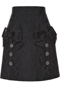 Мини-юбка с фактурной отделкой и бантами Dolce & Gabbana