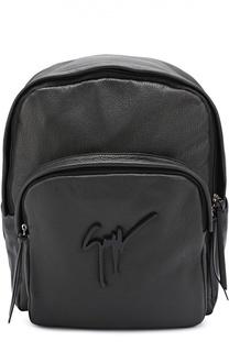 Кожаный рюкзак с внешним карманом на молнии Giuseppe Zanotti Design