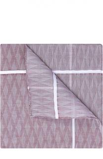 Хлопковый платок с узором и контрастным кантом Simonnot-Godard