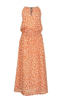 Платье миди с эластичным поясом и V-образным вырезом Nude