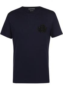 Хлопковая футболка с нашивкой Alexander McQueen