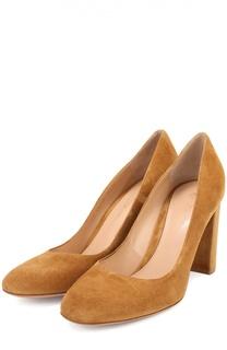 Замшевые туфли Linda на устойчивом каблуке Gianvito Rossi