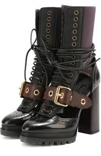 Кожаные сапоги с декором на устойчивом каблуке Burberry