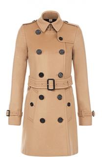 Двубортное пальто с отложным воротником и поясом Burberry